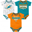 "Miami Dolphins NFL ""Playmaker"" Infant 3 Pack Bodysuit Creeper Set"
