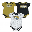 "Jacksonville Jaguars NFL ""Playmaker"" Infant 3 Pack Bodysuit Creeper Set"