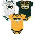 "Green Bay Packers NFL ""Playmaker"" Infant 3 Pack Bodysuit Creeper Set"