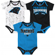"Carolina Panthers NFL ""Playmaker"" Infant 3 Pack Bodysuit Creeper Set"