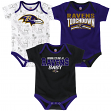 "Baltimore Ravens NFL ""Playmaker"" Infant 3 Pack Bodysuit Creeper Set"