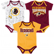 "Washington Redskins NFL ""Playmaker"" Infant 3 Pack Bodysuit Creeper Set"