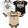 "New Orleans Saints NFL ""Playmaker"" Infant 3 Pack Bodysuit Creeper Set"