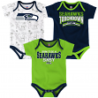 "Seattle Seahawks NFL ""Playmaker"" Infant 3 Pack Bodysuit Creeper Set"