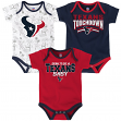 "Houston Texans NFL ""Playmaker"" Infant 3 Pack Bodysuit Creeper Set"