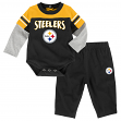 """Pittsburgh Steelers NFL Infant """"Halfback"""" Creeper & Pant Outfit Set"""