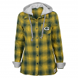 "Green Bay Packers Juniors NFL ""Dream Plaid"" Hooded Long Sleeve Flannel Shirt"