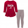 "Alabama Crimson Tide NCAA Toddler Girls ""Tiny Trainer"" Long Sleeve & Pants Set"