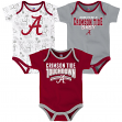 "Alabama Crimson Tide NCAA ""Playmaker"" Newborn 3 Pack Bodysuit Creeper Set"