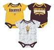"Arizona State Sun Devils NCAA ""Playmaker"" Newborn 3 Pack Bodysuit Creeper Set"