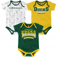 "Oregon Ducks NCAA ""Playmaker"" Newborn 3 Pack Bodysuit Creeper Set"