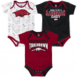 "Arkansas Razorbacks NCAA ""Playmaker"" Infant 3 Pack Bodysuit Creeper Set"