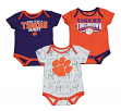 "Clemson Tigers NCAA ""Playmaker"" Infant 3 Pack Bodysuit Creeper Set"