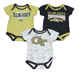 "Georgia Tech Yellowjackets NCAA ""Playmaker"" Infant 3 Pack Bodysuit Creeper Set"