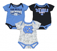 "North Carolina Tarheels NCAA ""Playmaker"" Infant 3 Pack Bodysuit Creeper Set"