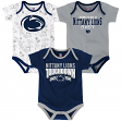 "Penn State Nittany Lions NCAA ""Playmaker"" Infant 3 Pack Bodysuit Creeper Set"