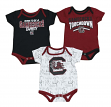 "South Carolina Gamecocks NCAA ""Playmaker"" Infant 3 Pack Bodysuit Creeper Set"
