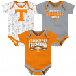 "Tennessee Volunteers NCAA ""Playmaker"" Infant 3 Pack Bodysuit Creeper Set"