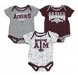 "Texas A&M Aggies NCAA ""Playmaker"" Infant 3 Pack Bodysuit Creeper Set"
