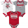 "Wisconsin Badgers NCAA ""Playmaker"" Infant 3 Pack Bodysuit Creeper Set"