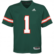 Miami Hurricanes Adidas NCAA #1 Youth Replica Green Football Jersey