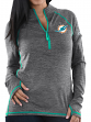 "Miami Dolphins Women's Majestic NFL ""Play Action"" 1/2 Zip Pullover Shirt"