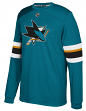 "San Jose Sharks Adidas NHL ""Platinum"" Men's Long Sleeve Jersey Shirt"