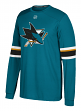 "San Jose Sharks Adidas NHL ""Silver"" Men's Long Sleeve Jersey Shirt"