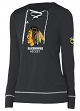 "Chicago Blackhawks Women's Adidas NHL ""Wordmark"" Long Sleeve Skate Lace Top"