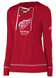 "Detroit Red Wings Women's Adidas NHL ""Wordmark"" Long Sleeve Skate Lace Top"