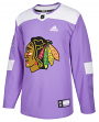 Chicago Blackhawks Adidas Hockey Fights Cancer Men's Authentic Practice Jersey