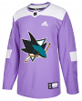 San Jose Sharks Adidas NHL Hockey Fights Cancer Men's Authentic Practice Jersey