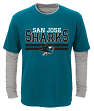 "San Jose Sharks Youth NHL ""Defensive Pair"" L/S Faux Layer Thermal Shirt"