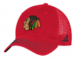 "Chicago Blackhawks Adidas NHL ""Face-Off"" Slouch Flex Fitted Mesh Back Hat"