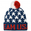 "Team USA Olympic ""Stars"" Cuffed Knit Hat with Pom"