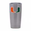 Miami Hurricanes NCAA Stainless Steel Insulated 20oz Tumbler - Silver