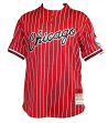 Chicago Bulls Mitchell & Ness Men's Pinstriped Mesh Baseball Jersey Shirt - Red