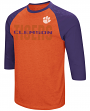 "Clemson Tigers NCAA ""Steal Home"" Men's Dual Blend 3/4 Sleeve T-Shirt"