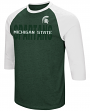 "Michigan State Spartans NCAA ""Steal Home"" Men's Dual Blend 3/4 Sleeve T-Shirt"