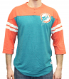 "Miami Dolphins Mitchell & Ness NFL ""Starting"" 3/4 Sleeve Tri-blend Henley Shirt"