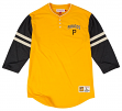 "Pittsburgh Pirates Mitchell & Ness MLB ""Home Stretch"" 3/4 Sleeve Henley Shirt"