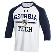 Georgia Tech Yellowjackets Under Armour Foul Ball Dual Blend 3/4 Sleeve T-shirt