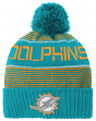 "Miami Dolphins Youth ""Magna"" NFL Reflective Cuffed Knit Hat w/ Pom"
