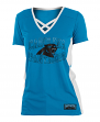"Carolina Panthers Women's New Era NFL ""Rushing"" V-Neck Poly Mesh S/S Shirt"