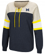 "Michigan Wolverines Women's NCAA ""Greatness"" Oversized Lace Up Sweatshirt"