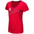 "Nebraska Cornhuskers Women's NCAA ""Big Sweet'"" Dual Blend V-neck T-Shirt"