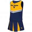 """West Virginia Mountaineers NCAA Toddler """"Pom Pom"""" 2 Piece Set Cheerleader Outfit"""