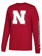 "Nebraska Cornhuskers Adidas NCAA ""Left Text"" Men's Long Sleeve T-shirt"