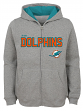 "Miami Dolphins Youth NFL ""Game Stated"" Full Zip Hooded Sweatshirt - Gray"