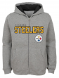 """Pittsburgh Steelers Youth NFL """"Game Stated"""" Full Zip Hooded Sweatshirt - Gray"""